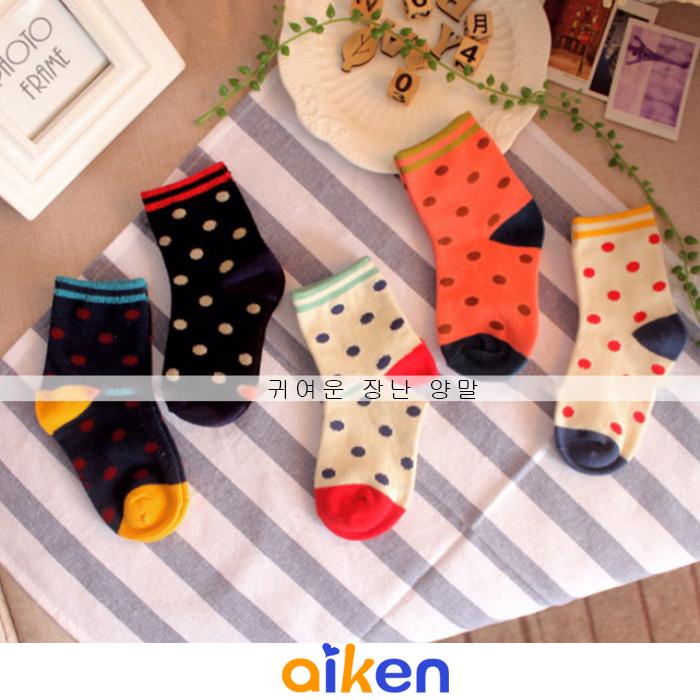 【艾肯居家生活館】寒流 嬰兒 兒童 襪子 1-3歲 ( 5雙一組 ) 糖果色 女襪 圓點 純棉 短襪 撞色條紋 繽粉造型襪 J3417-006