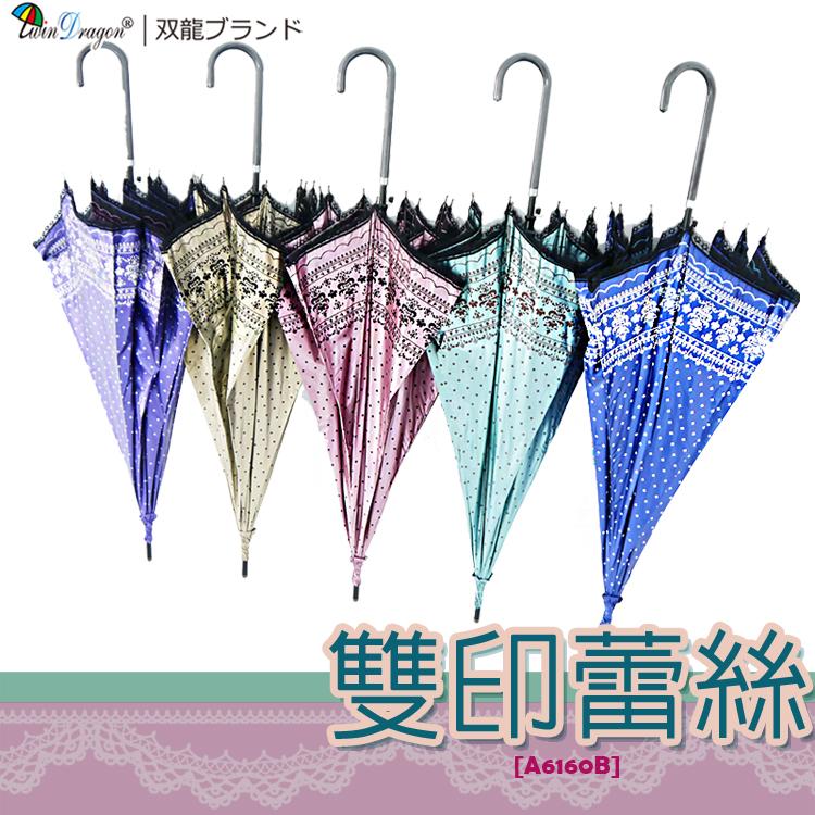 【雙龍牌】洛可可雙面圖案蕾絲宮廷傘-防曬降溫黑膠自動傘超輕量陽傘貴婦傘A6160B