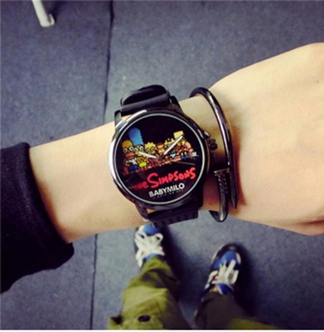 50%OFF【H014060WAH】大錶盤情侶塗鴉手錶一對韓版時尚潮流學生手錶潮男女士中性石英錶附錶盒
