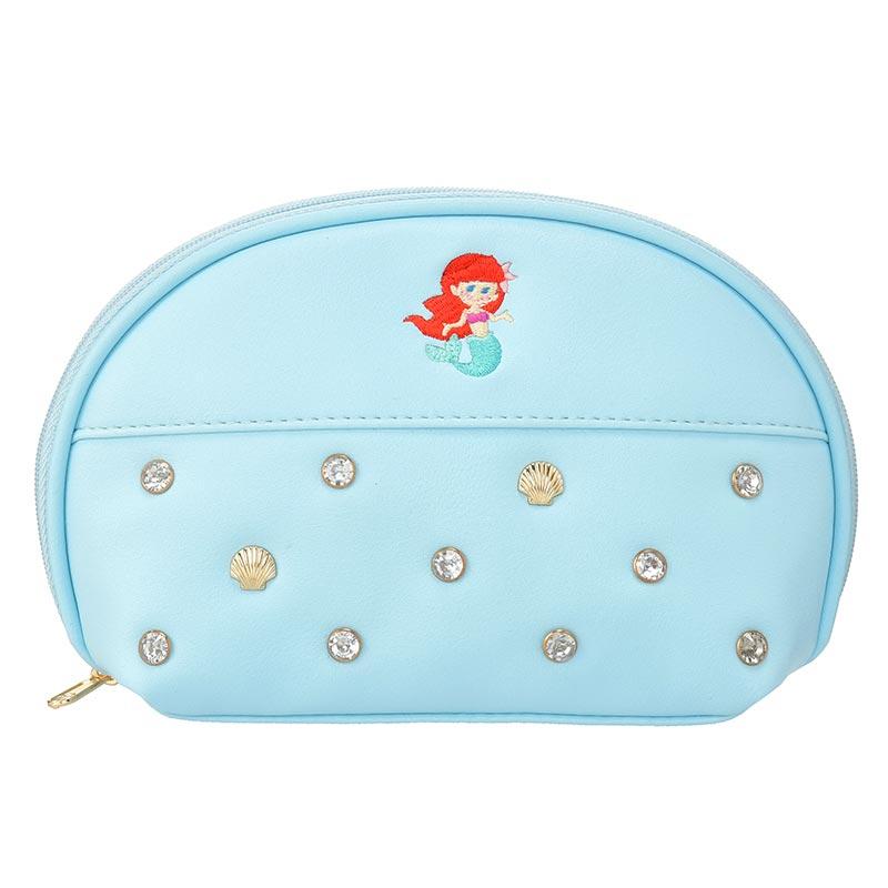 【真愛日本】Tiny貝殼化妝包-艾莉兒藍   迪士尼 小美人魚 The Little Mermaid  專賣店限定  日本帶回