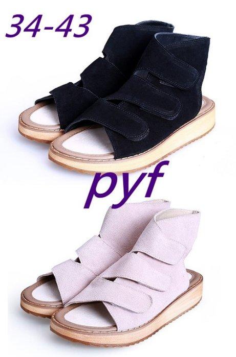 Pyf ♥ 韓版 個性街拍 魔鬼氈 真皮 舒適好穿 可調整 厚底涼鞋 42 43 大尺碼女鞋