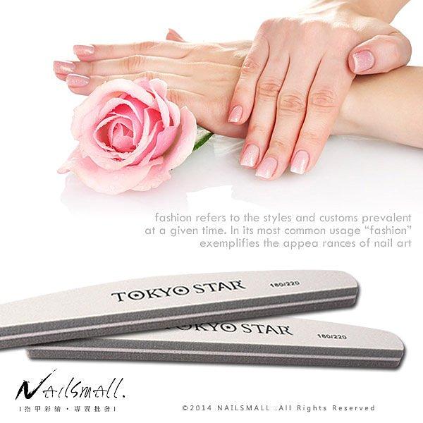 TOKYO STAR 專業用半月型細砂拋棉180/220(灰色) 凝膠甲水晶指甲海綿拋