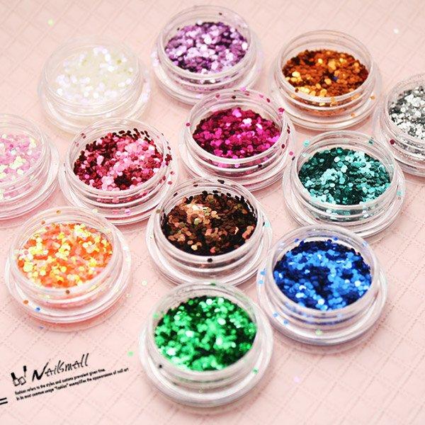 12色美甲亮片粉組合(小亮片,顏色隨機) 凝膠凝膠指甲油膠亮片閃粉 璀璨亮片