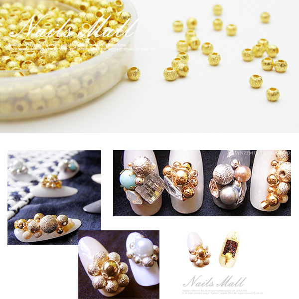 日系美甲飾品 磨砂球5顆入(MS系列) 金砂球 金沙圓球 凝膠甲鑽飾