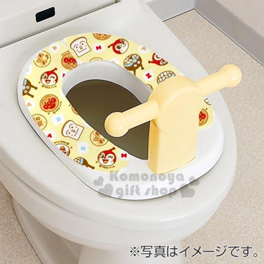 〔小禮堂〕麵包超人 日製可洗式兒童馬桶座墊貼《2入.黃.點點.大臉滿版》抗菌防臭.可重複使用