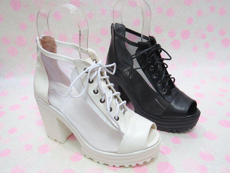 ☆韓國風帥氣鞋帶高跟厚底踝靴17-7283(白/黑)☆【彩虹屋】現+預