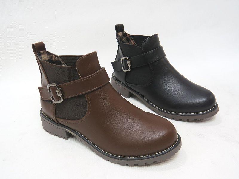 ☆校園風金屬扣環低跟短靴15-M918(棕/黑)☆【彩虹屋】現+預