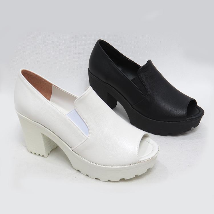 韓版厚底粗跟魚口鞋