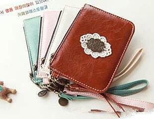 =優生活=2015韓國時尚蕾絲皮革零錢包 收納包 皮革小錢包 隨身卡包 時尚卡包
