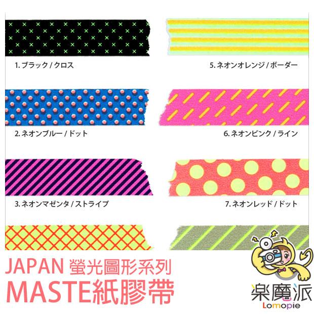 『樂魔派』日本Japan maste紙膠帶 螢光圖形系列  拍立得裝飾 筆記本 便條 紙膠帶 貼紙 膠帶 禮物包裝