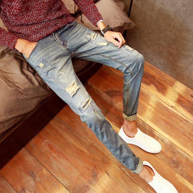 50%OFF【D014756P】韓國破洞牛仔褲男士復古水洗補丁修身潮流小腳直筒褲學生九分