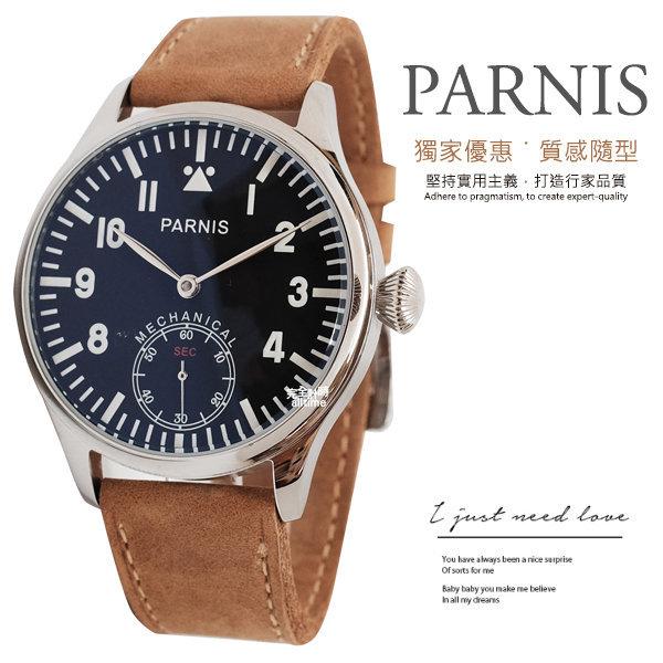【完全計時】手錶館│PARNIS 手動上鍊經典機械錶PA3117 飛行款 後鏤空 新品現貨 42mm l 機師飛行源專用