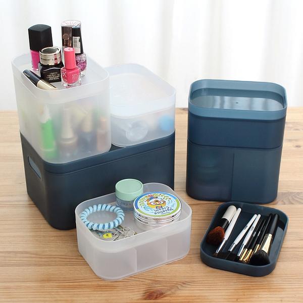 PS Mall 日韓創意生活磨砂透明收納盒 置物架 收納架 桌面附蓋子 化妝品收納【J1768】
