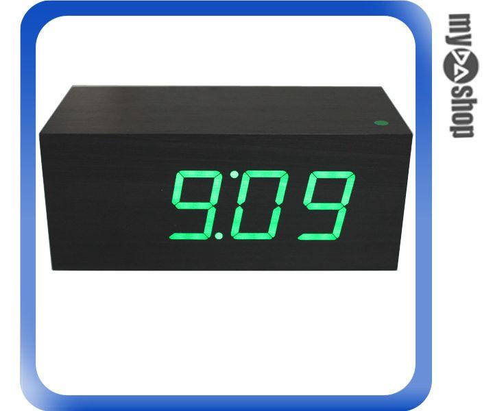 《DA量販店E》復古 原木木盒造型 電子鐘 綠色 LED 具有溫度、日期 顯示 (22-731)