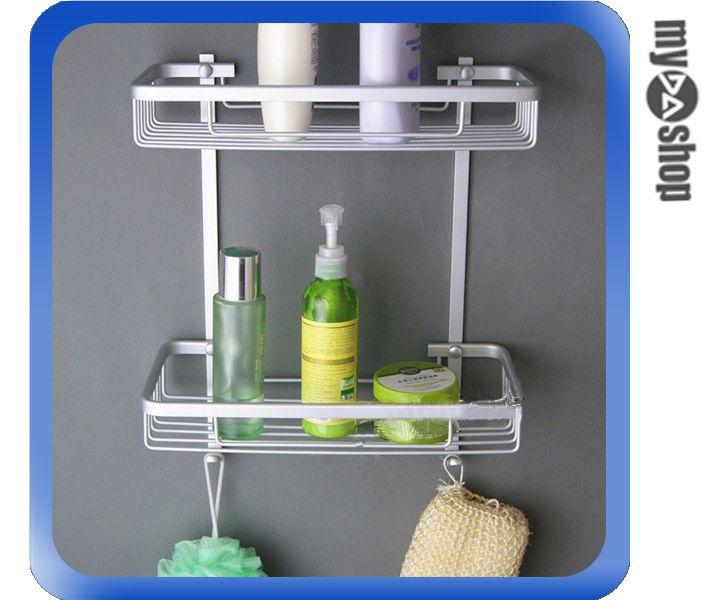《DA量販店》DIY 衛浴用品 鋁鎂合金 壁掛 雙層 收納 置物籃 置物架 毛巾掛鉤(79-0609)