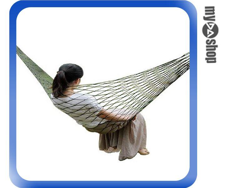 《DA量販店》便攜 戶外 露營 加粗 尼龍繩 網兜 網狀 單人 吊床 送加粗綁繩(79-0745)