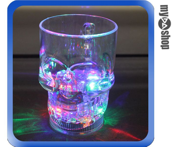 《DA量販店》LED 造型 骷髏 杯子 水晶 骷髏塑膠杯 酷炫 七彩(79-1553)