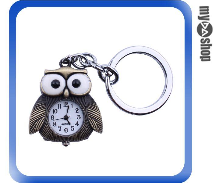 《DA量販店》居家 生活 可愛 動物 造型 貓頭鷹 時鐘 鑰匙圈 小掛錶 吊飾(79-2509)