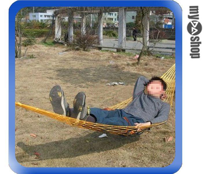 《DA量販店》戶外 露營 溪邊 烤肉 郊遊 夏季 休閒 單人 網狀 吊床 黃色(79-2523)