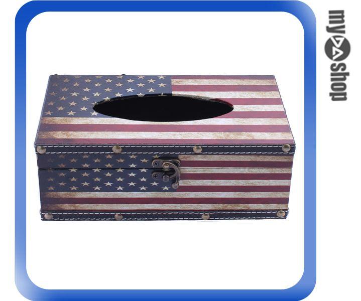 《DA量販店》創意 生活 美國 國旗 木製 面紙盒 衛生紙盒 發票盒 飾品盒(79-2854)