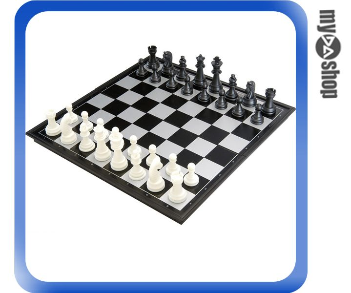 《DA量販店》國際象棋 標準象棋 磁性 西洋棋 黑白色 折疊棋盤 小型(79-3103)