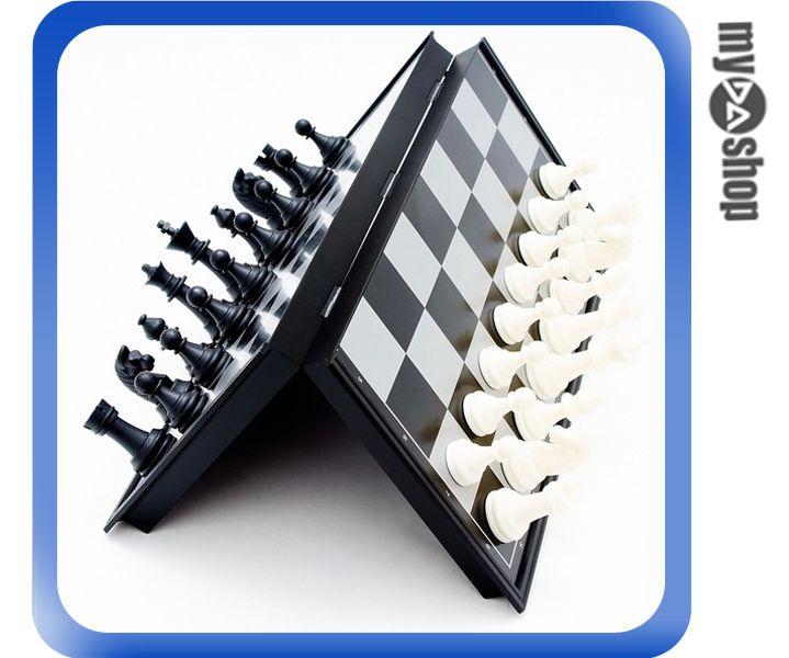 《DA量販店》國際象棋 標準象棋 磁性 西洋棋 黑白色 折疊棋盤 中型(79-3105)