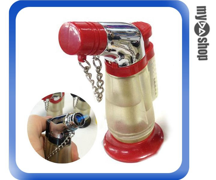 《DA量販店》透明直桶 造型 噴槍式 防風 強力噴射 打火機 可充瓦斯 直沖式(79-3511)