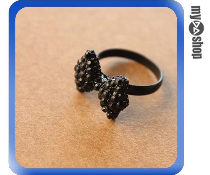 《DA量販店》韓版 精美 華麗 黑色滿鑽蝴蝶結 戒指 指環 情人節 (79-5514)