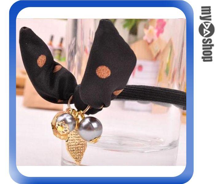 《DA量販店》日韓 飾品 髮飾 髮夾 髮圈 美髮 兔子 串珠 黑色(79-5837)