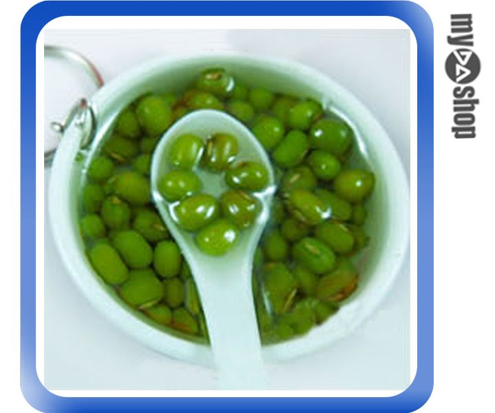 《DA量販店》仿真食物 袖珍 禮物 禮品 婚禮小物 食物 青花瓷 鑰匙圈 綠豆湯(80-0597)