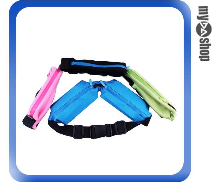 《DA量販店》多功能 彈性 運動 雙腰包 臀包 單車包 收納包 雙口袋 黑色(80-0946)