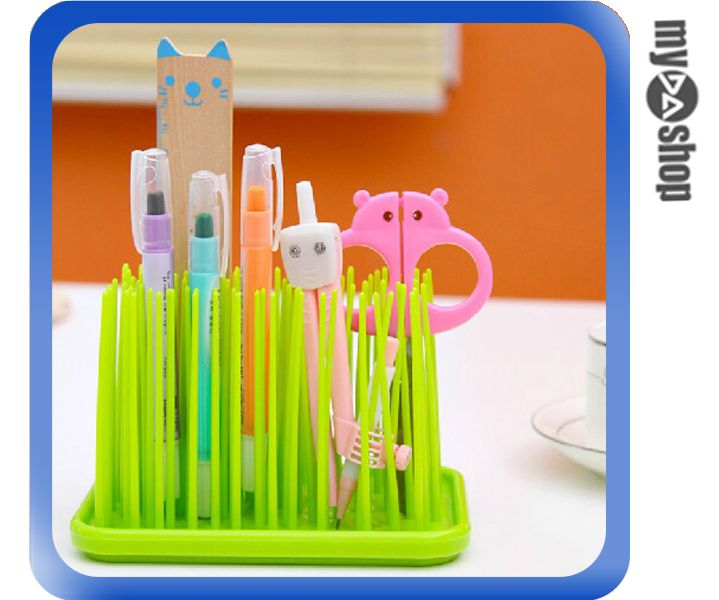 《DA量販店》小草 文具 筆筒 浴室用品 收納架 化妝品收納架 收納座 顏色隨機(80-1031)