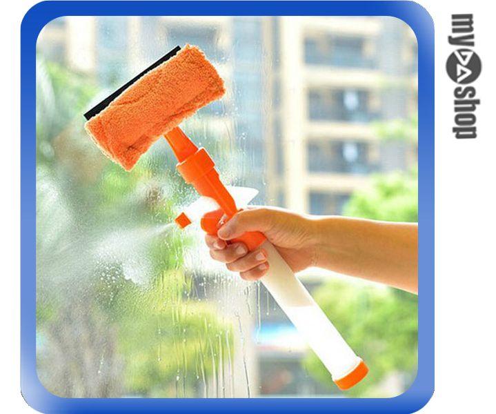 《DA量販店》創意 可噴水 雙面 玻璃 清潔拖把 清潔器 清潔刷 顏色隨機(80-1048)