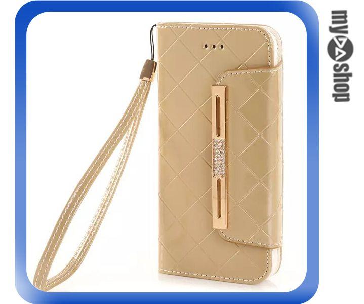 《DA量販店》Apple iphone6 4.7吋 亮面 手提 掛繩 皮套 保護套 手機套 金色(80-1200)
