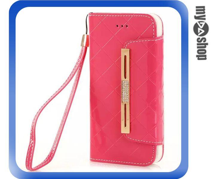 《DA量販店》蘋果 iphone6 4.7吋 亮面 手提 掛繩 皮套 保護套 手機套 粉紅色(80-1204)