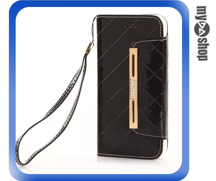 《DA量販店》Apple iphone6 4.7吋 亮面 手提 掛繩 皮套 保護套 手機套 黑色(80-1205)