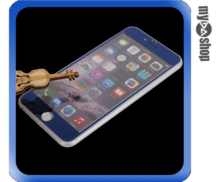 《DA量販店》彩色 電鍍 iphone6 4.7吋 滿版 螢幕 鋼化 玻璃 保護貼 藍色(80-1274)