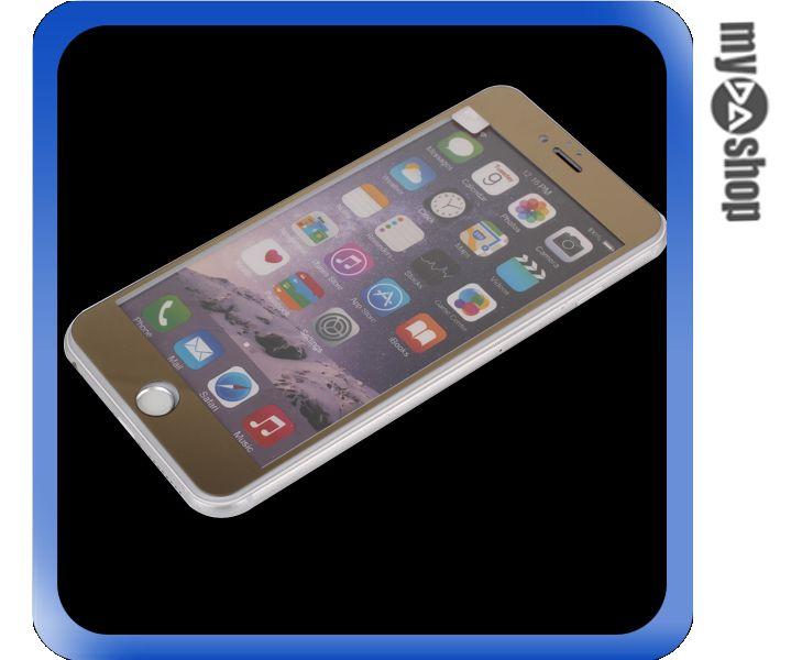 《DA量販店》彩色 電鍍 iphone6 plus 5.5 滿版 鋼化 玻璃 保護貼 金色(80-1275)