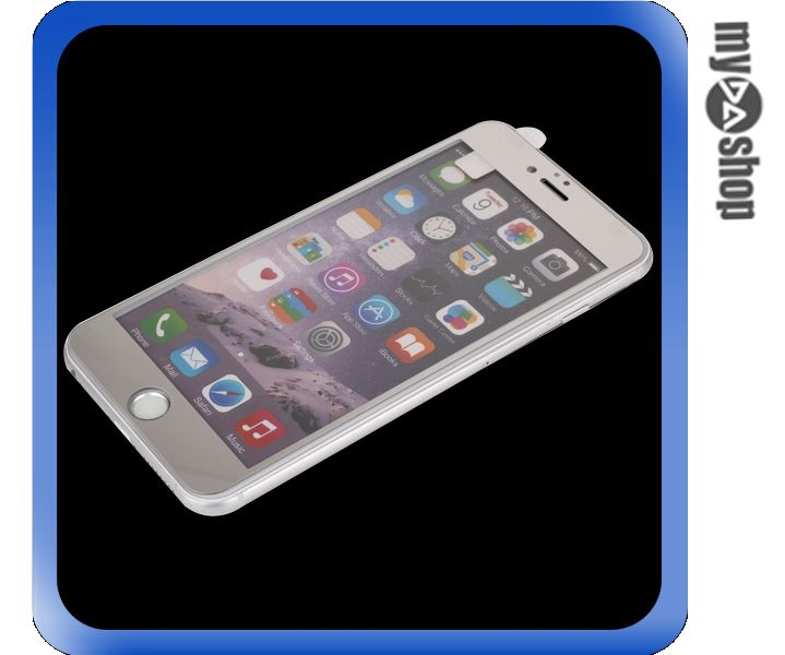 《DA量販店》彩色 電鍍 iphone6 plus 5.5 滿版  鋼化 玻璃 保護貼 銀色(80-1276)