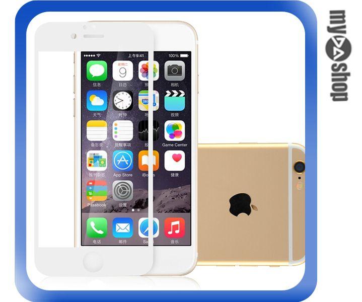 《DA量販店》蘋果 iphone6 plus 5.5 奈米 原色 滿版 螢幕 鋼化 玻璃 保護貼 白色(80-1282)