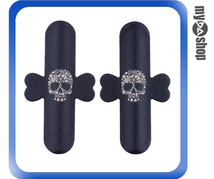 《DA量販店》彩繪 魔力貼 U型 手機 支架 2入 黑色 骷髏頭(80-1516)