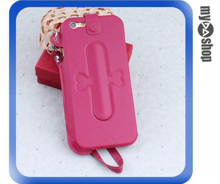 《DA量販店》iphone6 手機套 皮套 U型支架 掛繩 保護套 touch-U 桃紅(80-1646)