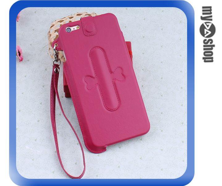 《DA量販店》iphone6 plus 手機套 皮套 U型支架 掛繩 保護套 touch-U 桃紅(80-1653)
