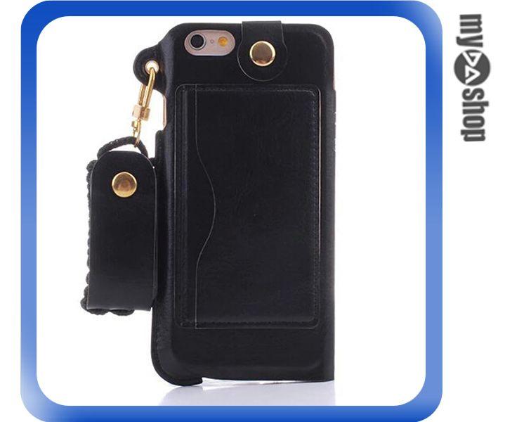 《DA量販店》蘋果 iphone6 plus 5.5吋 掛繩 插卡式 皮套 支架 手機套 黑色(80-1799)