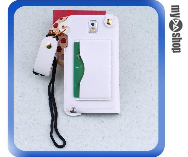 《DA量販店》三星 Samsung note3  掛繩 插卡式 皮套 支架 手機套 白色(80-1807)