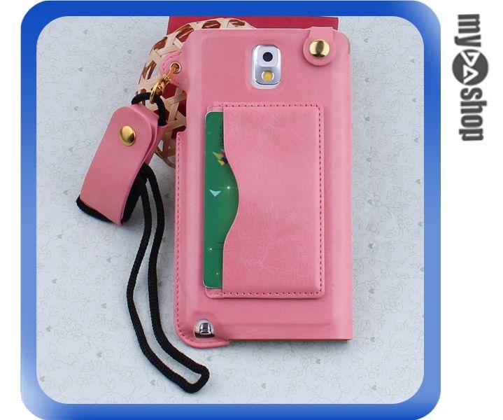 《DA量販店》三星 Samsung note3  掛繩 插卡式 皮套 支架 手機套 粉紅色(80-1808)