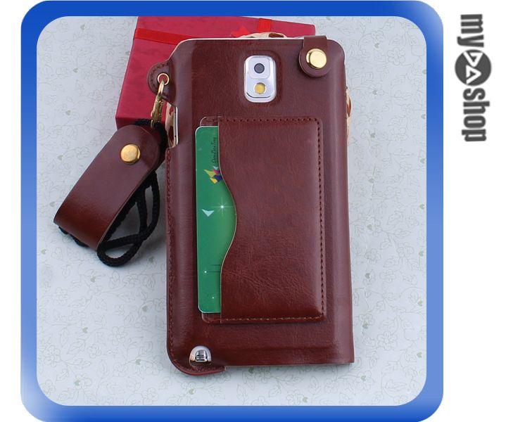 《DA量販店》三星 Samsung note3  掛繩 插卡式 皮套 支架 手機套 棕色(80-1809)