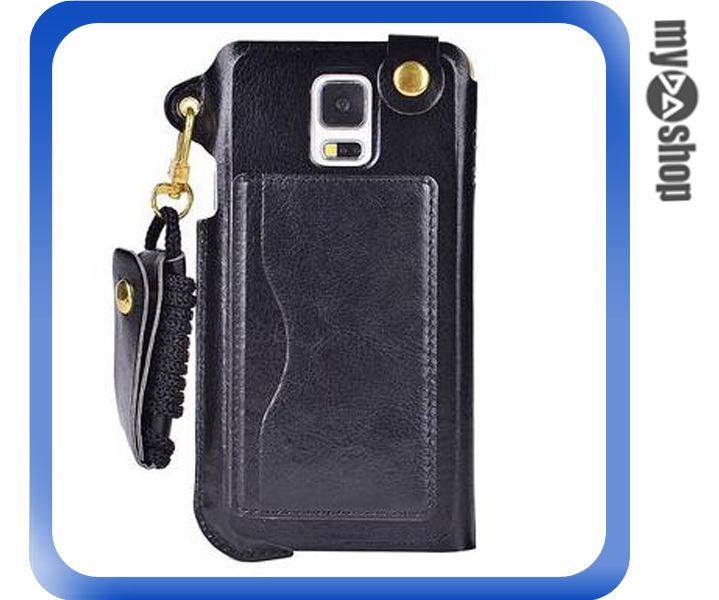 《DA量販店》三星 Samsung S5 掛繩 插卡式 皮套 支架 手機套 黑色(80-1820)