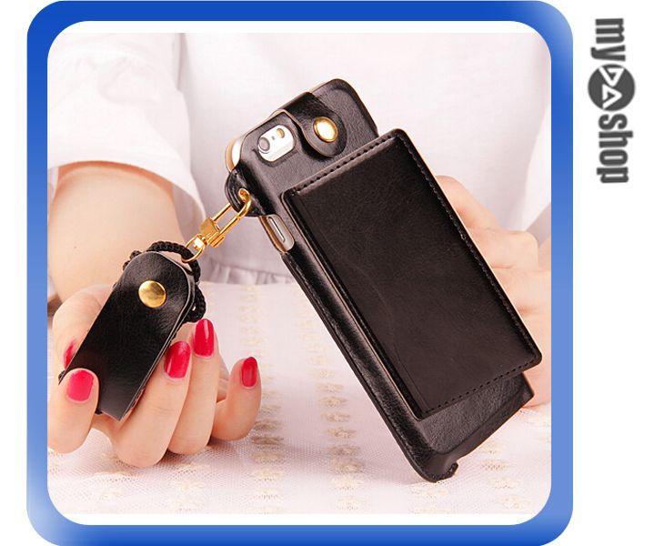 《DA量販店》蘋果 iphone5 5S 掛繩 插卡式 皮套 支架 手機套 黑色(80-1821)