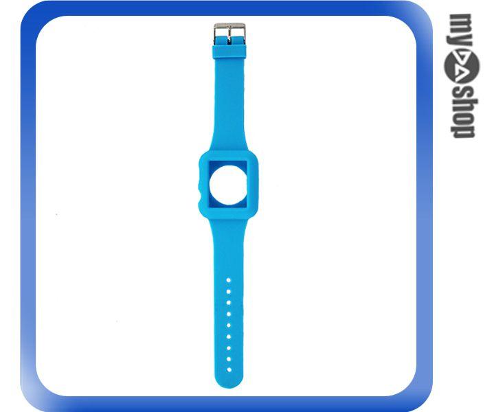 《DA量販店》Apple watch sport 42mm 矽膠套 保護殼 錶帶 藍色(80-2049)